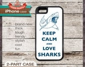 Keep Calm And Love Sharks - iPhone 6, 6+, 5 5S, 5C, 4 4S, Samsung Galaxy S3, S4