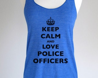Keep Calm and Love Police Officers Soft Tri-Blend Racerback Tank