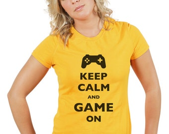 Keep Calm and Game On design 2 T-Shirt - Soft Cotton T Shirts for Women, Men/Unisex, Kids