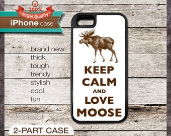 Keep Calm And Love Moose - iPhone 6, 6+, 5 5S, 5C, 4 4S, Samsung Galaxy S3, S4