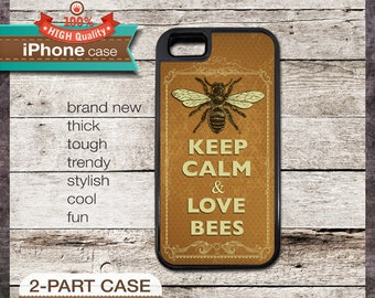 Keep Calm & Love Bees - iPhone 6, 6+, 5 5S, 5C, 4 4S, Samsung Galaxy S3, S4