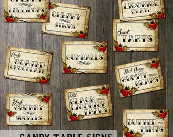 Rockabilly Wedding Candy Table Signs | Digital Files |  Tattoo Winged Heart Vintage Parchment Paper Digital Printable Table Signs