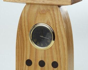 Oak and walnut mission desk clock