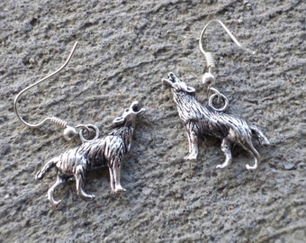 Wolf Earrings - Dr Who Bad Wolf, Free USA Shipping, Handmade Doctor Who Jewelry, Handmade Dr Who Jewelry, Doctor Who Earrings