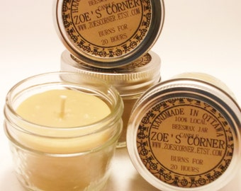 Beeswax Candle - Portable Jar candle -Set of 4 (EACH BURNS for 15 HOURS)