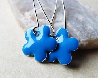 Dangle Drop Earrings - Turquoise Blue Epoxy Enamel Flowers - Sterling Silver Plated over Brass (F-2)