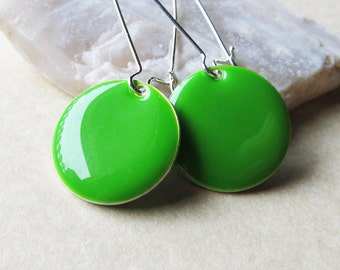 Dangle Drop Earrings - Lime Green Epoxy Enamel Circle Discs - Sterling Silver Plated over Brass (F-3)