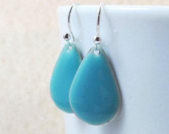 Dangle Drop Earrings - Sky Blue Epoxy Enamel Teardrops - Sterling Silver Plated over Brass (F-5)