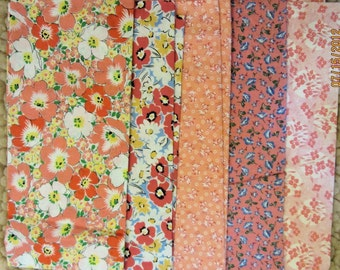 Orange Flowers Fabric