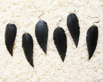 Innertube Feather Earrings Upcycled earrings Recycled earrings rubber earrings Dangle earring Upcycled jewelry Recycled jewelry