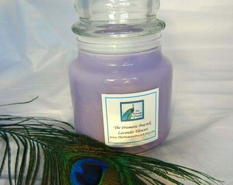 lavender flowers scented soy candle 20 oz apothecary jar purple