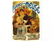 "Retro Wood Wall Art 8x12"" 20x30 cm, French Table, Paris, Retro Beer Advertising, Wall Hanger, Alfons Mucha, Art Noveau Room Decor, For Him"
