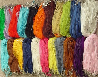 """25 pcs - Organza ribbon waxed cotton cord necklace 18"""" plus 2"""" extension - 19 colors to choose from"""