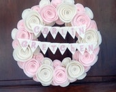 Twins Baby Wreath - Felt Flower Wreath with Baby Name Banner in Baby Pink and Antique White