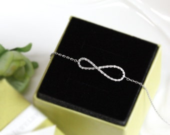 Infinity bracelet with crystal , simple and delicate jewerly - ER2001