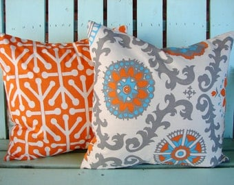 "Set of 2 18""X18"" orange,natural,aqua,gray rosa mandarin,aruba modern print cotton- Decorative pillow cover-throw pillow-accent pillow"