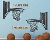 Basketball Hoop Vinyl Decal - Sports Decal - Boys Girls Sports Decor - Man Cave Wall Art - Vinyl Sticker - 16x15
