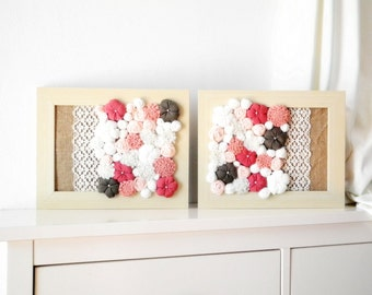 Country chic Home decor with fabric flower wall art 3D design Set of 2pcs Framed ornament White pink beige olive