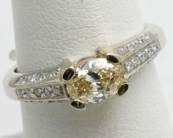 Vintage 14k white gold Natural Yellow Diamond Ring Oval pave 1 carat engagement ring