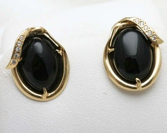 Estate 14k yellow gold Black Onyx Oval Earrings Studs Cubic Zirconia Vintage