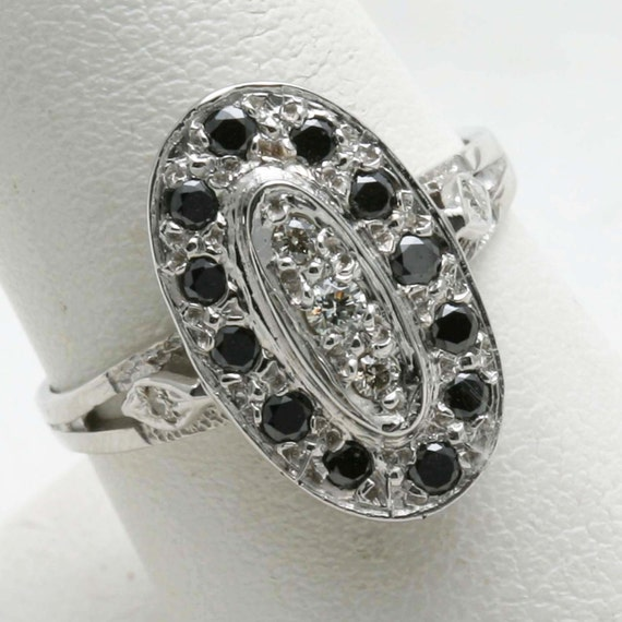 Vintage 14k white gold Black Diamond Ring Oval 2/3 carat long black and white Victorian