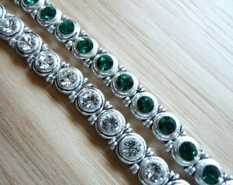 Swarovski Crystal Antique Silver Plated 2 Hole Slider Bead - 8x9mm - Crystal - 5 pieces