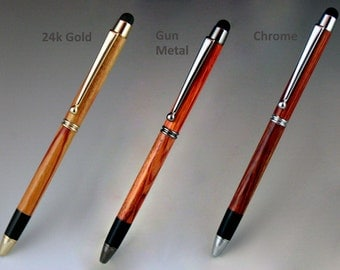 Touch Stylus Pen, exotic wood body, five available colors for Stylus Tip