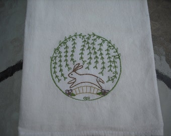 Primitive Style Rabbit Flour Sack Towel. Machine Embroidered.