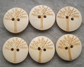 "Six  3/4"" wood buttons - carving-in trees"