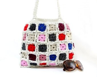 Crochet bag, Handmade, Crochet granny square bag, Gift ideas for her, Gypsy style, Multicolor tote, Square pattern, Gypsy bag