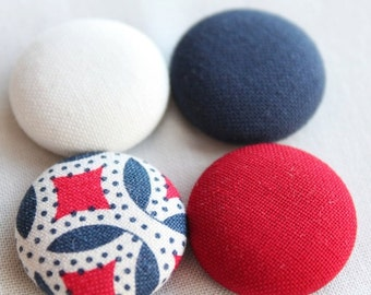 PATRIOTIC FABRIC MAGNETS – 4 nautical classroom fabric button magnets -- July 4 – chore chart button magnets -- kitchen fridge magnets