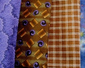 4 Fat Eighths..Mostly Vintage..Shades of Purple and Brown....Cotton Quilting and Sewing