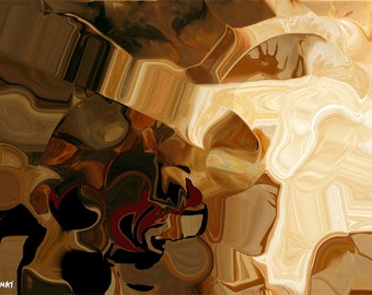 Brown Abstract Canvas Print - DIGITAL Composite -  Stretched Ready to Hang by Osnat  50x37