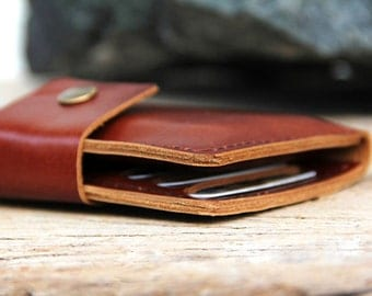 Brance brown leather iphone wallet
