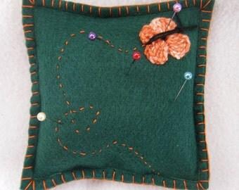 ON SALE Green Felt Pincushion