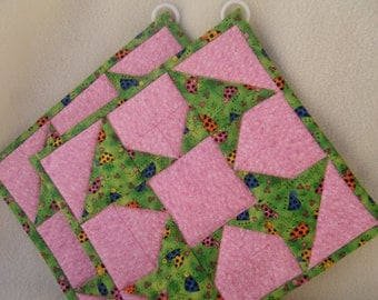 Pink and Green Quilted Potholders - Set of 2 - HANDMADE BY ME