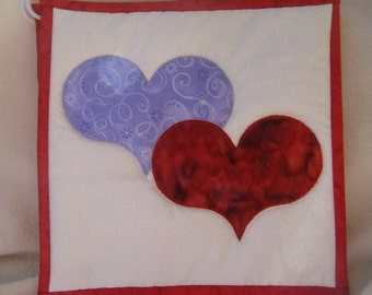 Quilted Appliqued Lavender & Red Heart Potholders - Set of 2 - 100% HANDMADE