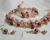 Crocheted Wire Necklace Set in Rose Pink and Cream, handmade beaded wire crochet necklace