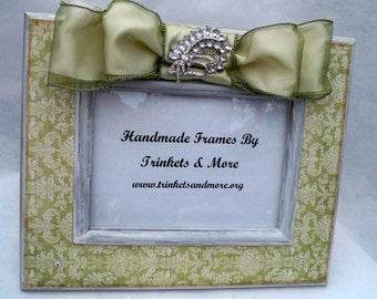 Sage and Cream Damask Picture Frame