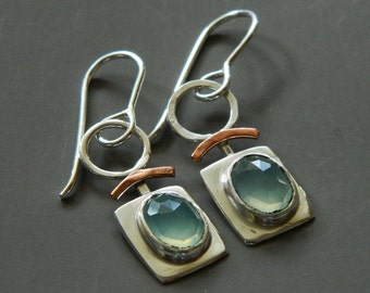 Mixed metal jewelry- dangle earrings with silver, copper and chalcedony metal earrings
