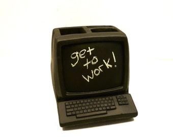 desk accessories, tech lover, for him, computer geek, desk organizer, chalkboard, home office,  nerdy, unique