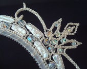 Crocheted Wire Tiara Wedding Fantasy Fairy Tale Stick Pearls and Swarovski Crystals Sterling Plated Wire Oxidation Proof  White and Silver