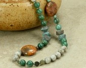 African Jade and Feldspar Necklace, Fossil Coral Necklace, African Jade Necklace, Green Necklace, Gray Necklace