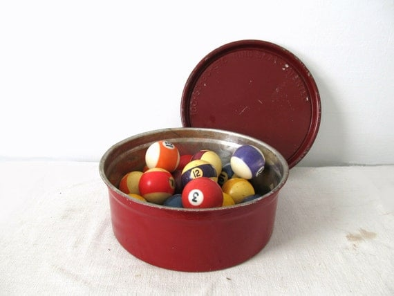 Vintage Oxblood Red Round Container with Lid