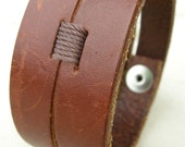 Mens Brown Leather Cuff Double Strap Tough Bracelet with Snap