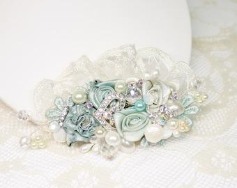 Aqua Hair Comb- Bridal Hairpiece- Mint Blue Bridal Clip- Aqua Wedding Hairpiece- Aqua Wedding Comb- Hair Accessories- Floral Hair Comb