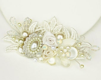 Bridal Hair Comb -  Ivory Hair Accessories- Wedding Hair Accessories- Pearl hairpiece- Bridal hair accessories- Shimmer No Sparkle