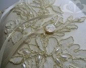 Ivory Ring Bearer Pillow with Alencon Lace and Beading