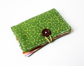 Green Circles Dots Fabric Business Card Holder, with Pink Green Sweet Wavy Stripes - Credit Card Holder, Cloth Card Holder, Gift Card Holder