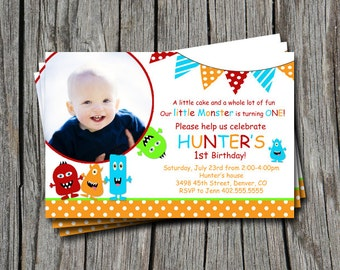 Little Monster 1st 2nd 3rd  Birthday Party Invitation Card   - You Print